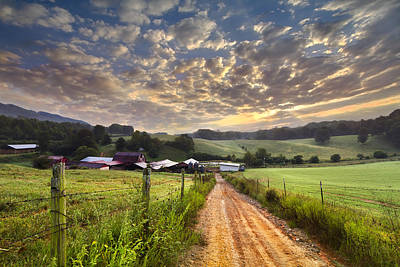 The Old Farm Lane Poster by Debra and Dave Vanderlaan