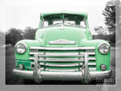 The Old Green Chevy Pickup Truck Poster by Edward Fielding