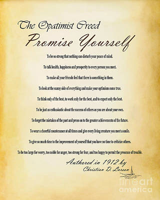 The Opatimist Creed  Poster by Kenroy Rhoden