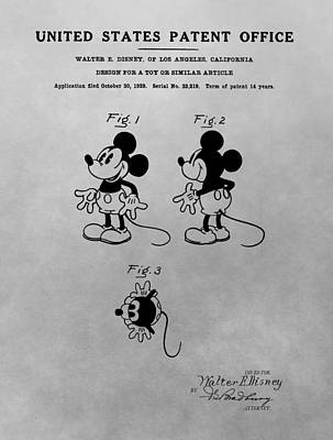The Original Mickey Mouse Patent Design Poster by Dan Sproul