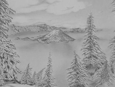 The Peacefulness Of Crater Lake Poster by Laurence Wright