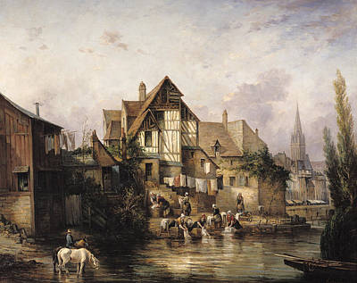 The Petits Murs Wash-house Oil On Canvas Poster by Victor Theophile Tesniere