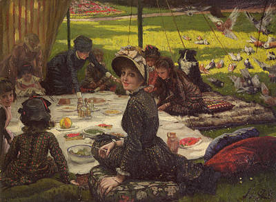 The Picnic Dejeuner Sur Lherbe, C.1881-2 Panel Poster by James Jacques Joseph Tissot