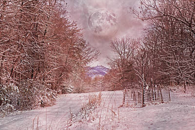 The Pink Snow Evening Poster by Betsy C Knapp