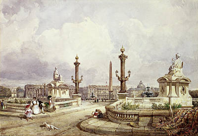 The Place De La Concorde, C.1837 Wc On Paper Poster by William Wyld