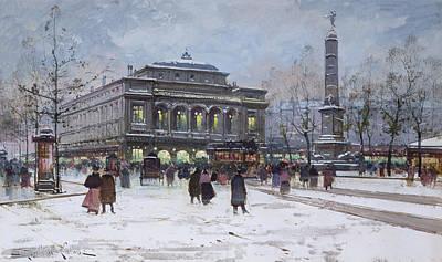 The Place Du Chatelet Paris Poster by Eugene Galien-Laloue