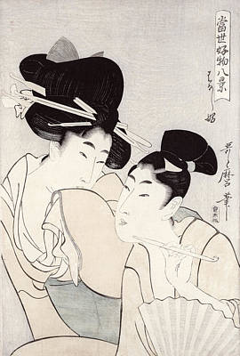 The Pleasure Of Conversation Poster by Kitagawa Utamaro