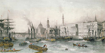The Port Of London Colour Engraving Poster by Thomas Allom