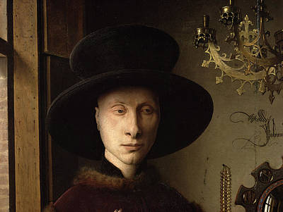 The Portrait Of Giovanni ? Arnolfini And His Wife Giovanna Cenami ? The Arnolfini Marriage 1434 Oil Poster by Jan van Eyck