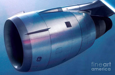 The Power Of Flight Jet Engine In Flight Poster by Wernher Krutein