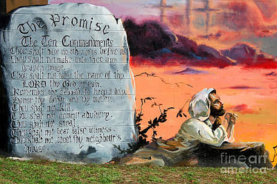 The Promise - The Ten Commandments Poster by Linda Rae Cuthbertson