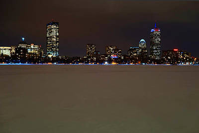 The Pru Lit Up In Red White And Blue For The Patriots Poster by Toby McGuire