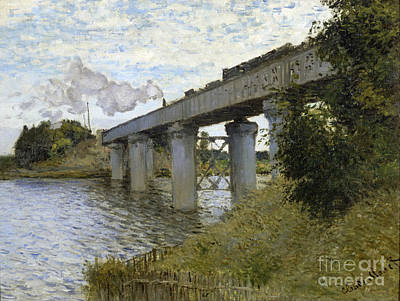 The Railroad Bridge In Argenteuil Poster by Claude Mone