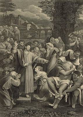 The Raising Of Lazarus 1886 Engraving Poster by Antique Engravings