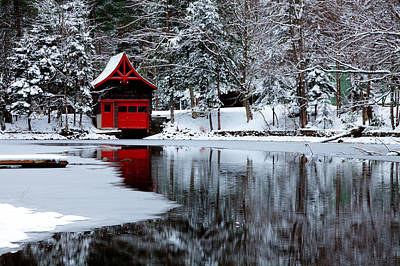 The Red Boathouse In Winter Poster by David Patterson
