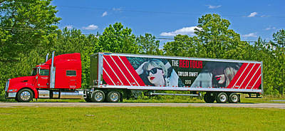 The Red Tour Truck Poster by Andy Lawless