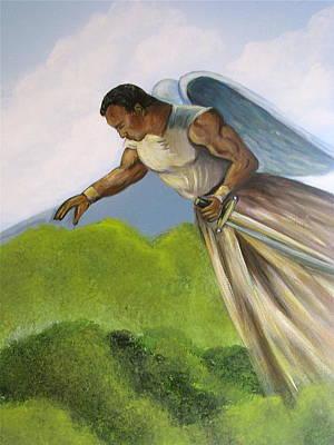The Rock As An Angel Warrior Poster by Melinda Saminski