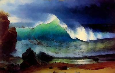 The Shore Of The Turquoise Sea Poster by Albert Bierstadt