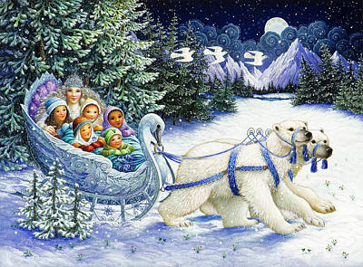 Sleigh Poster featuring the painting The Snow Queen by Lynn Bywaters
