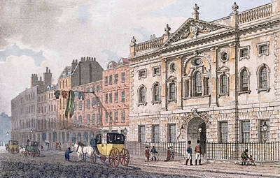 The South Front Of Ironmongers Hall, From R. Ackermanns Repository Of Arts 1811 Colour Litho Poster by English School