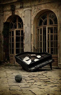 The Stone Sphere And Broken Grand Piano Poster by Jaroslaw Blaminsky