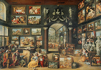 The Studio Of Apelles Oil On Panel Poster by Willem van II Haecht