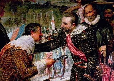 The Surrender Of Breda 1625, Detail Of Justin De Nassau Handing The Keys Over To Ambroise Spinola Poster by Diego Rodriguez de Silva y Velazquez
