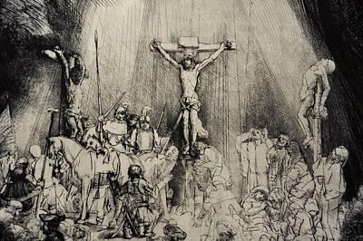 The Three Crosses Poster by Rembrandt Harmensz van Rijn