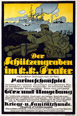 The Trench In The Prater, 1918 Poster by Franz Wacik