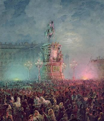 The Unveiling Of The Nicholas I Memorial In St. Petersburg Poster by Vasili Semenovich Sadovnikov