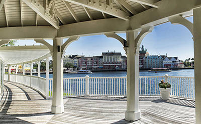 The View From The Boardwalk Gazebo At Disney World Poster by Thomas Woolworth