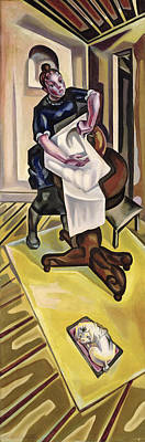 The Washing, Before 1921 Oil On Canvas Poster by Maria Blanchard