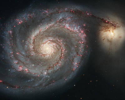 The Whirlpool Galaxy M51 And Companion Galaxy  Poster by Roman