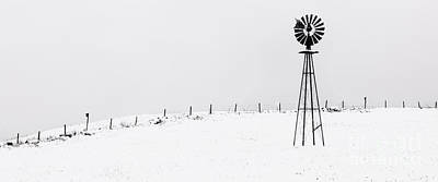 The Windmill -  A Minimalist Winter Scenic  Poster by Thomas Schoeller