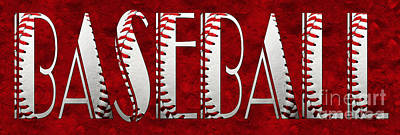 The Word Is Baseball On Red Poster by Andee Design