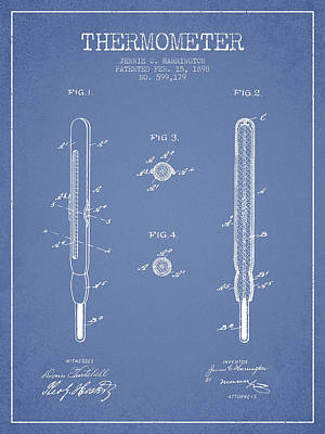 Thermometer Patent From 1898 - Light Blue Poster by Aged Pixel