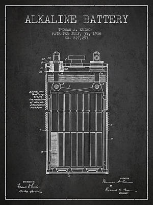 Thomas Edison Alkaline Battery From 1906 - Charcoal Poster by Aged Pixel