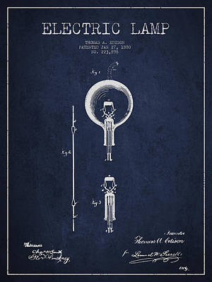 Thomas Edison Electric Lamp Patent From 1880 - Blue Poster by Aged Pixel