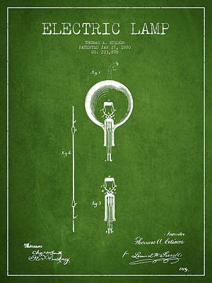 Thomas Edison Electric Lamp Patent From 1880 - Green Poster by Aged Pixel