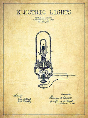 Thomas Edison Electric Lights Patent From 1880 - Vintage Poster by Aged Pixel
