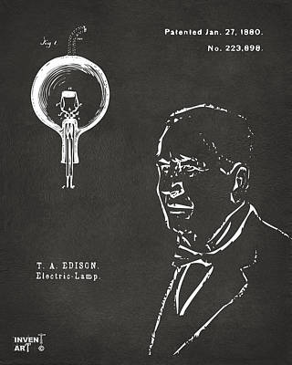 Thomas Edison Lightbulb Patent Artwork Gray Poster by Nikki Marie Smith