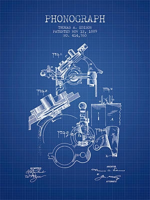 Thomas Edison Phonograph Patent From 1889 - Blueprint Poster by Aged Pixel