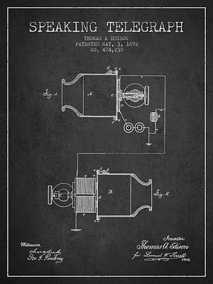 Thomas Edison Speaking Telegraph Patent From 1892 - Charcoal Poster by Aged Pixel