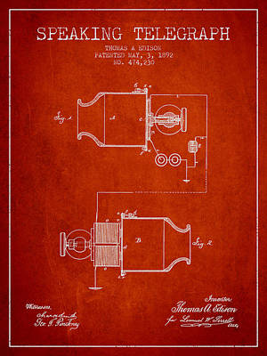 Thomas Edison Speaking Telegraph Patent From 1892 - Red Poster by Aged Pixel
