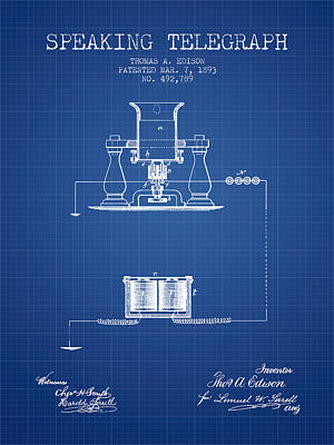 Thomas Edison Speaking Telegraph Patent From 1893 - Blueprint Poster by Aged Pixel