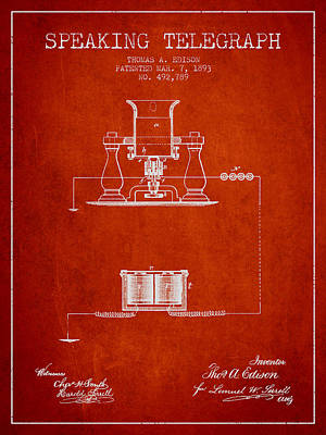 Thomas Edison Speaking Telegraph Patent From 1893 - Red Poster by Aged Pixel