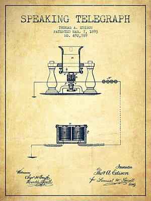 Thomas Edison Speaking Telegraph Patent From 1893 - Vintage Poster by Aged Pixel
