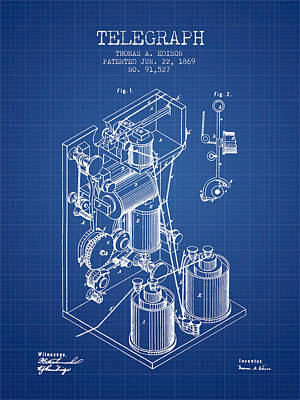 Thomas Edison Telegraph Patent From 1869 - Blueprint Poster by Aged Pixel