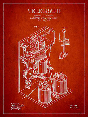 Thomas Edison Telegraph Patent From 1869 - Red Poster by Aged Pixel