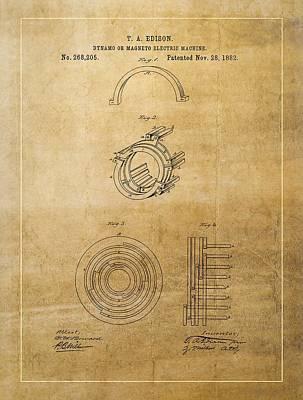 Thomas Edison's Generator Patent Poster by Dan Sproul